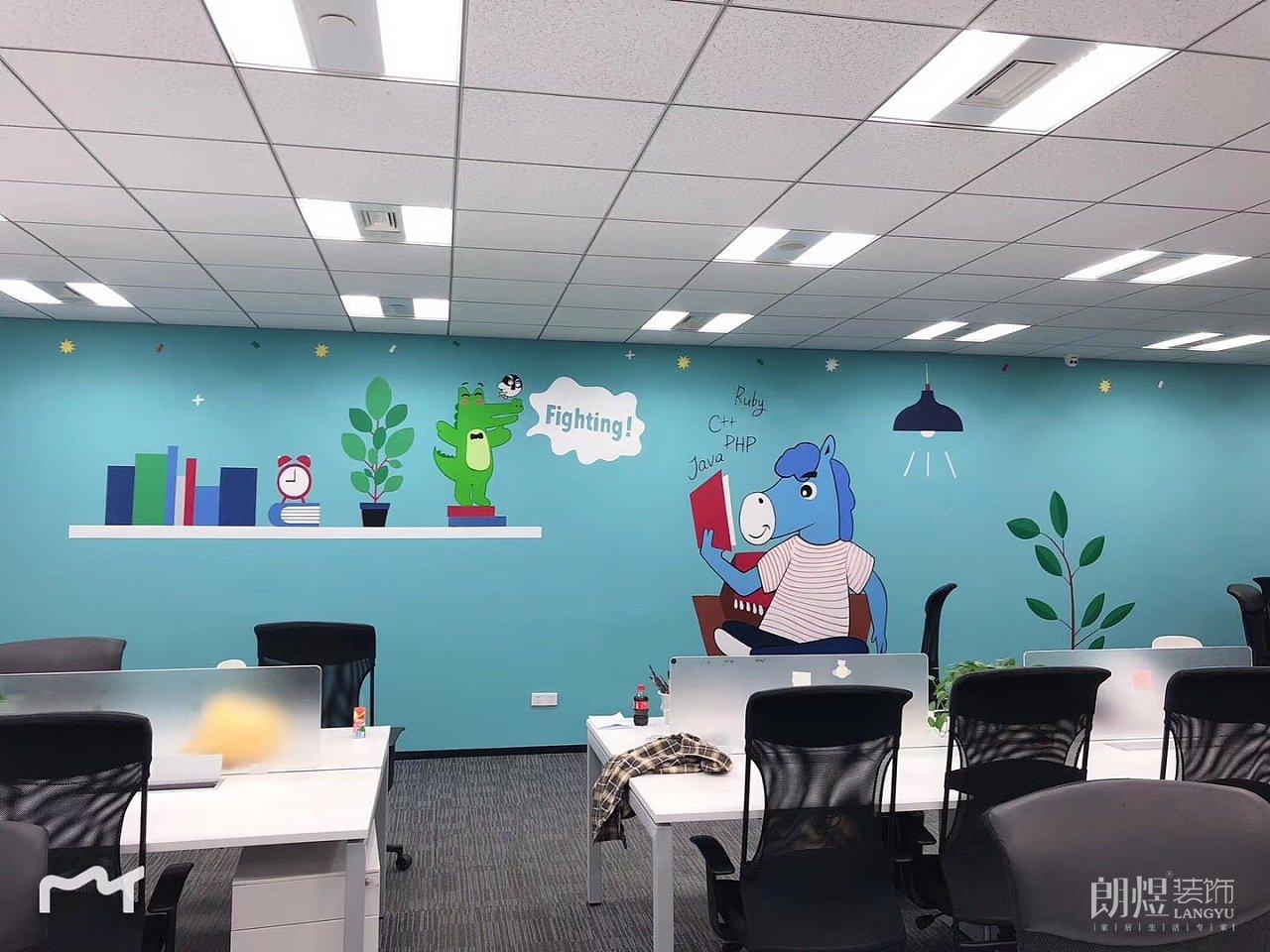 创意办公室文化墙手绘设计效果图分享