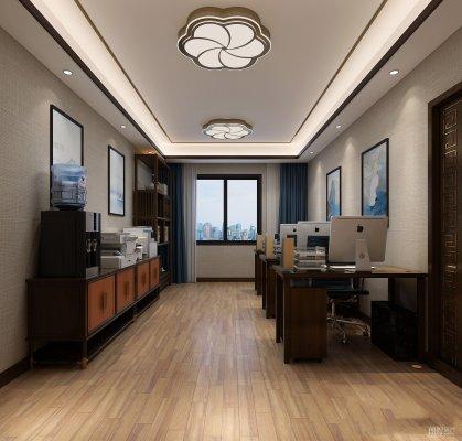 成都新中式小型办公室装修效果图