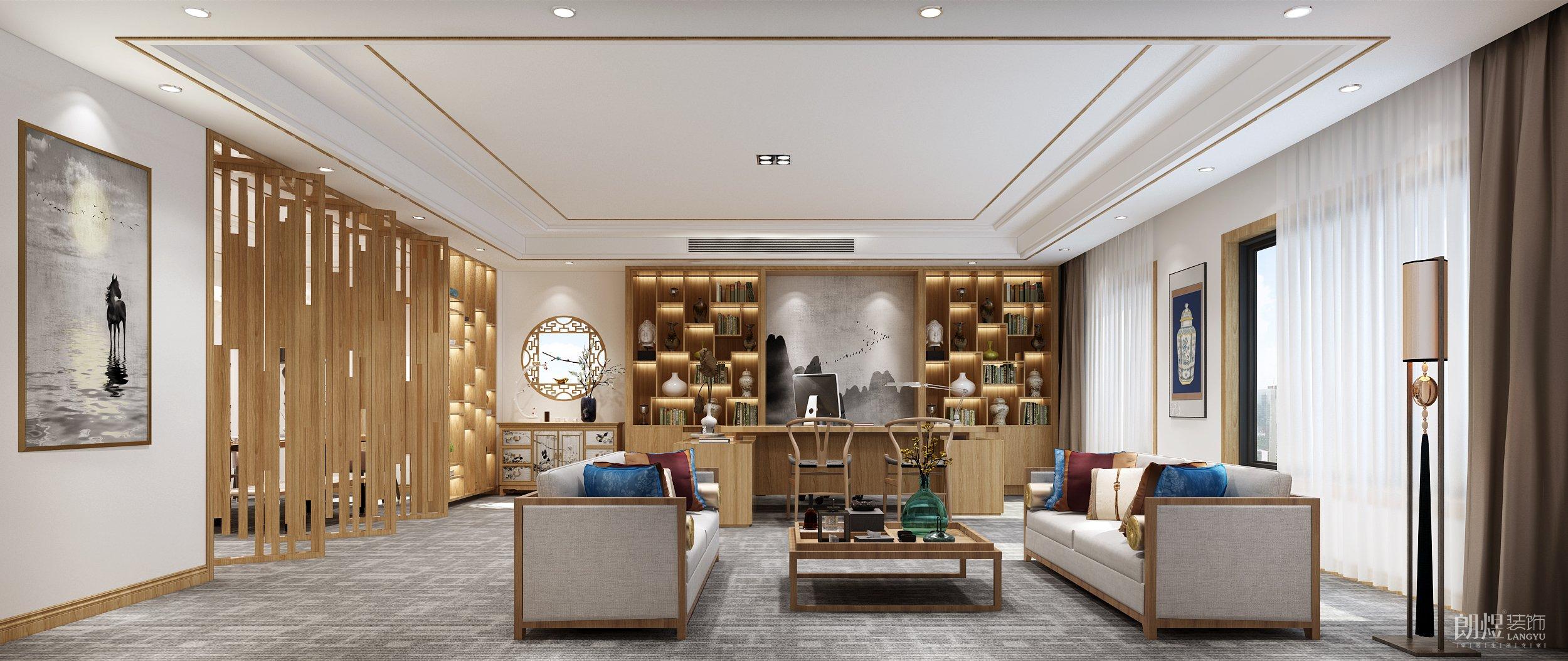 新中式办公室装修效果图 禅意与大气并存