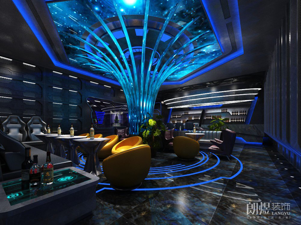 成都450平米酒吧装修效果图-蓝色科技风