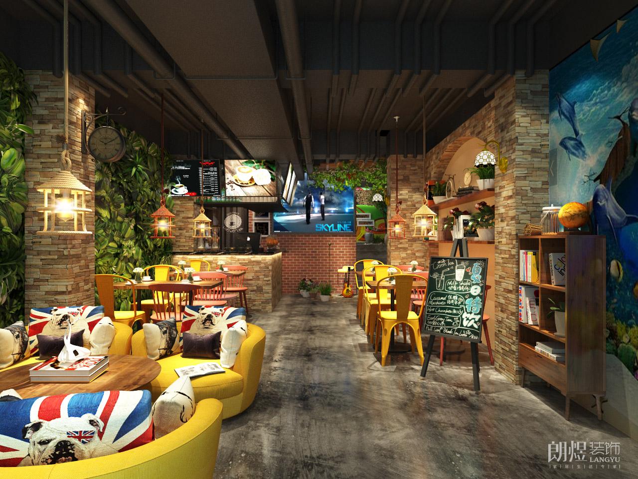 成都小型工业风咖啡厅装修效果图